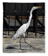 Great Egret In The Neighborhood Strutting 1 Fleece Blanket