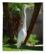 Great Egret Just Strutting Impressionism 1 Fleece Blanket