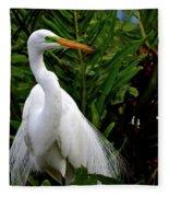 Great Egret Nesting Fleece Blanket