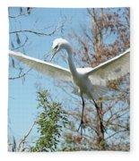 Great Egret Over The Treetops Fleece Blanket