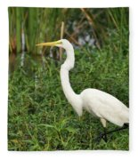 Great Egret Walking Fleece Blanket