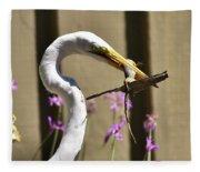 Great Egret With Lizard Who Is Holding Onto Wood Fleece Blanket