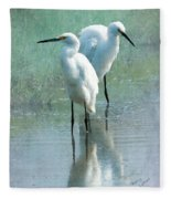 Great Egrets Fleece Blanket