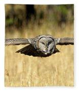 Great Gray Owl In Flight Fleece Blanket