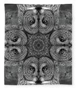 Great Gray Owl Stare Down Fleece Blanket