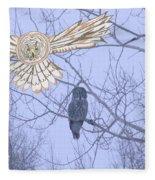 Great Gray Owl Together Fleece Blanket