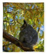 Great Horned Owl 2 Fleece Blanket