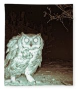 Great Horned Owl At Night In The Desert Fleece Blanket by Judy Kennedy