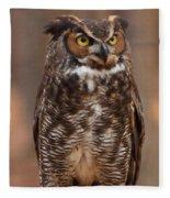 Great Horned Owl Digital Oil Fleece Blanket