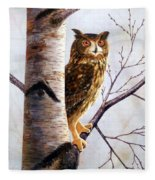 Great Horned Owl In Birch Fleece Blanket