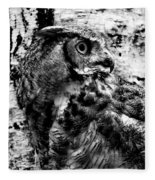 Great Horned Owl In Black And White Fleece Blanket