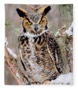 Great Horned Owl Nature Wear Fleece Blanket