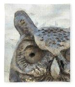 Great Horned Owl Pencil Fleece Blanket