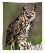 Great Horned Owl Screeching Fleece Blanket