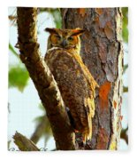 Great Horned Owl Wink Fleece Blanket