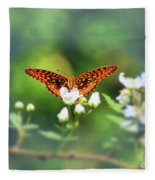 Great Spangled Fritillary Looking At Me Fleece Blanket