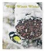 Great Tit In The Snow Card Fleece Blanket