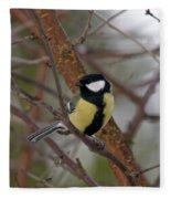 Great Tit Male Fleece Blanket