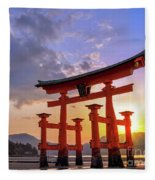 Great Torii Of Miyajima At Sunset Fleece Blanket