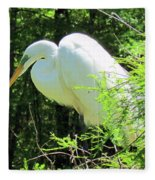 Great White Egret Fleece Blanket