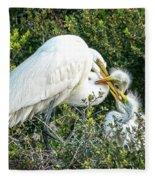 Great White Egret Family Fleece Blanket