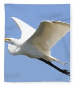 Great White Egret In Flight . 40d6845 Fleece Blanket