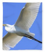 Great White Egret In Flight . 40d6850 Fleece Blanket