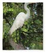 Great White Egret In Spring Fleece Blanket