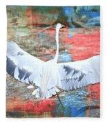 Great White Egret Landing Fleece Blanket