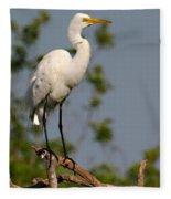 Great White Egret Pose Fleece Blanket