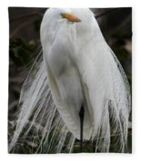 Great White Egret Windblown Fleece Blanket