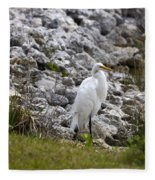 Great White Heron Race Fleece Blanket