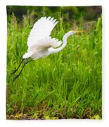 Great White Heron Takeoff Fleece Blanket