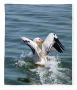 Great White Pelican In Flight Fleece Blanket