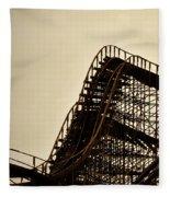 Great White Roller Coaster - Adventure Pier Wildwood Nj In Sepia Triptych 1 Fleece Blanket