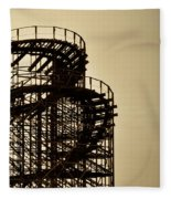 Great White Roller Coaster - Adventure Pier Wildwood Nj In Sepia Triptych 3 Fleece Blanket