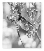 Great Wings  Black And White Dragonfly Fleece Blanket