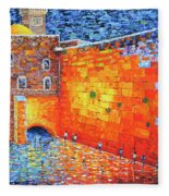 Wailing Wall Greatness In The Evening Jerusalem Palette Knife Painting Fleece Blanket