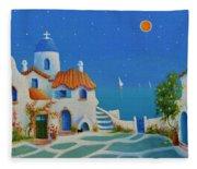 Greek Blue Santorini A Greek Fairytale Fleece Blanket