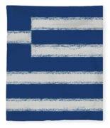 Greek Flag Smudged Fleece Blanket