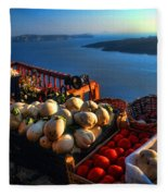 Greek Food At Santorini Fleece Blanket