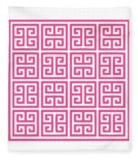 Greek Key With Border In French Pink Fleece Blanket