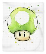 Green 1up Mushroom Fleece Blanket
