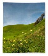 Green 4 Flowers Fleece Blanket