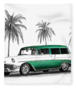 Green 56 Chevy Wagon Fleece Blanket