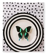 Green And Black Butterfly On Plate Fleece Blanket