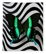 Green And Black Butterfly On Wavey Lines Fleece Blanket