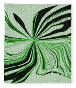 Green And Black Embroidered Butterfly Abstract Fleece Blanket