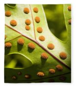 Green And Orange Leaf Fleece Blanket