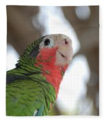 Green And Red Conure With Ruffled Feathers Fleece Blanket